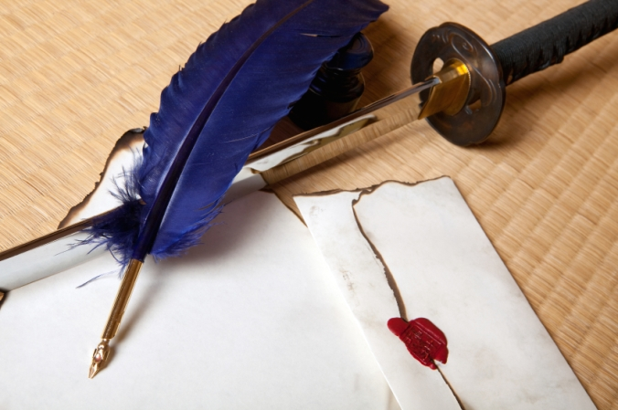 Feather sword and letter